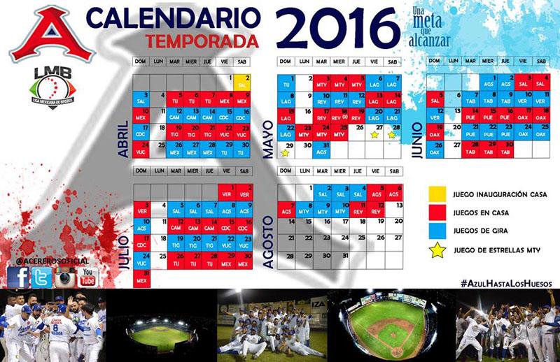 Calendario Acereros Temporada 2016